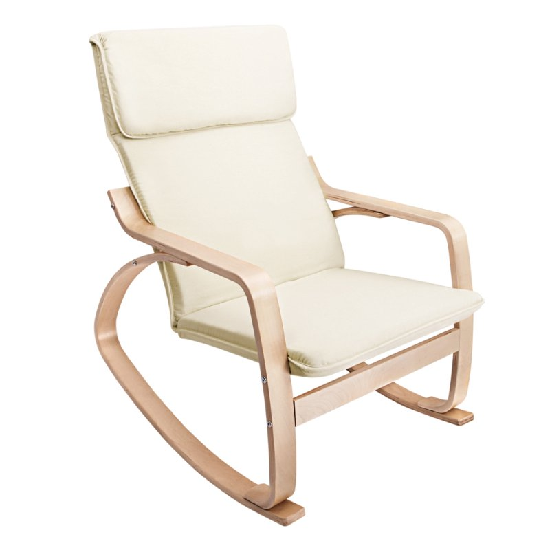 Ergonomic Bentwood & Fabric Rocking Chair In Beige  Buy