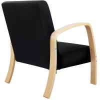 Birch Plywood & Fabric Lounge Armchair in Black