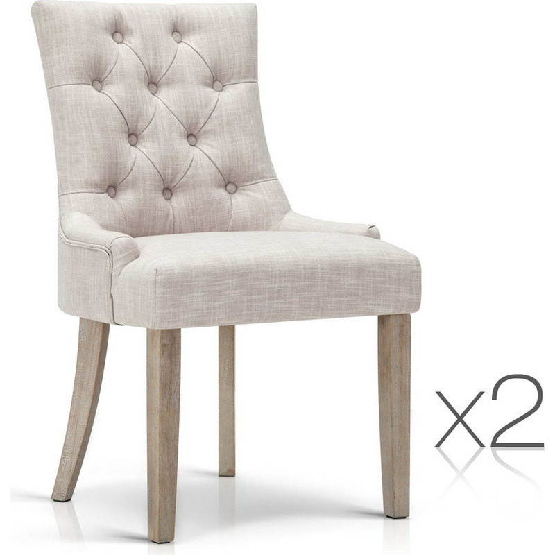 2pc French Provincial Polyester Dining Chairs Beige