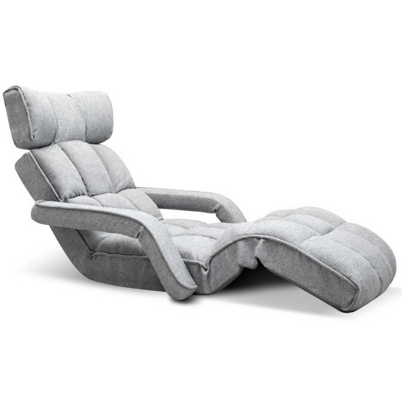 Single Size Adjustable Lounge Chair w Arms in Grey  Buy