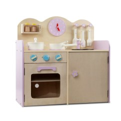 Kids Wooden Kitchen 3 Piece Faucet Keezi Play Set Natural Pink Buy H M S Remaining
