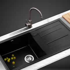 Buy Kitchen Sink Hands Free Faucet Cefito 860 X 500mm Granite Black Sinks 206699 H M S Remaining