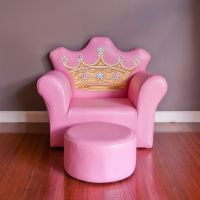 Kids Princess Crown PVC Leather Sofa Chair in Pink | Buy ...