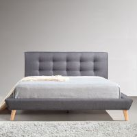 Double Linen Fabric Button Tufted Bed Frame in Grey | Buy ...
