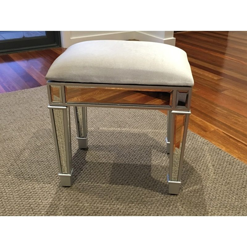 chair covers on amazon outdoor slings mirrored makeup dressing table stool in silver | buy stools