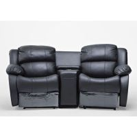 2 Seat Leather Recliner Lounge Sofa w/ Cup Holders | Buy ...