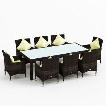 9pc Morocco Outdoor Wicker Dining Set Coffee Brown 8