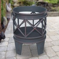 Turin Round Metal Outdoor Fire Pit - Antique Copper | Buy ...