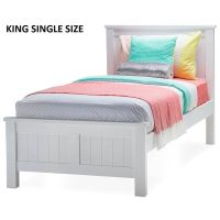 Snow King Single Size Wooden Bed Frame in White