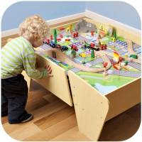 Plum Kids Wooden Train Set and Track Activity Table | Buy ...
