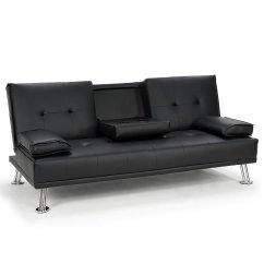 Black Sofa Beds For Sale Reading Berkshire Rochester Faux Leather Bed Lounge Couch Futon Furniture Suite H M S Remaining