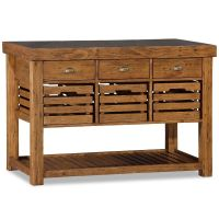 Recycled Timber Portable Kitchen Island w/ 6 Drawer | Buy ...