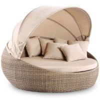 Newport Large Round Outdoor Day Bed w/ Canopy Wheat | Buy ...