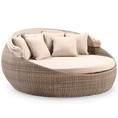 Canopy Daybed Outdoor Wicker Sun Sofa Lounge Most Comfortable Sleeper Sectional Newport Large Round Day Bed W/ Wheat | Buy ...