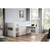 King Single Loft Bed with Desk and Storage in White | Buy ...