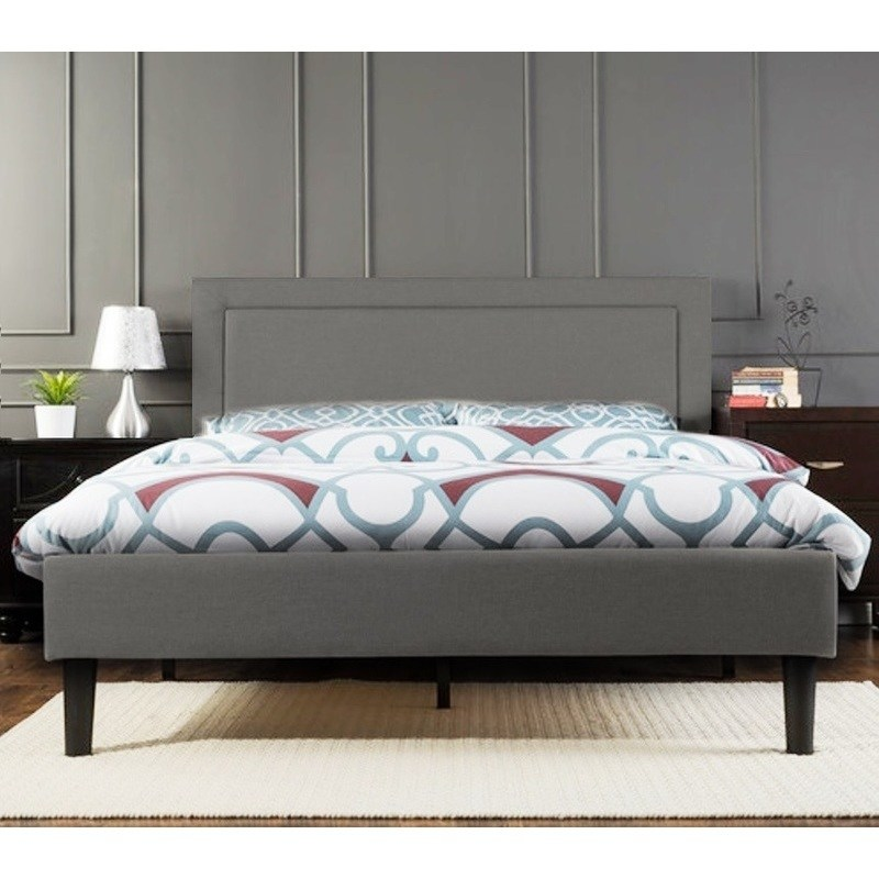 Portsmouth Queen Size Linen Fabric Bed Frame In Grey Buy