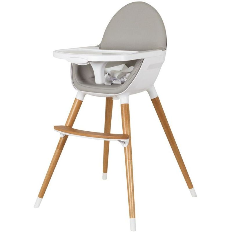 Childcare Baby High Chair w/ Timber Legs in White