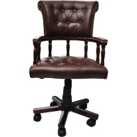 Chesterfield Captain's Swivel Desk Chair in Brown | Buy ...