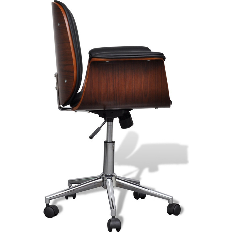 Faux Leather Swivel Office Chair w/ Wooden Frame