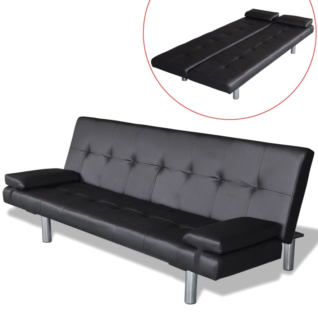 black sofa beds for sale recommend a good bed vidaxl with two pillows artificial leather couch h m s remaining