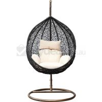 Rattan Wicker Outdoor Hanging Egg Chair in Black