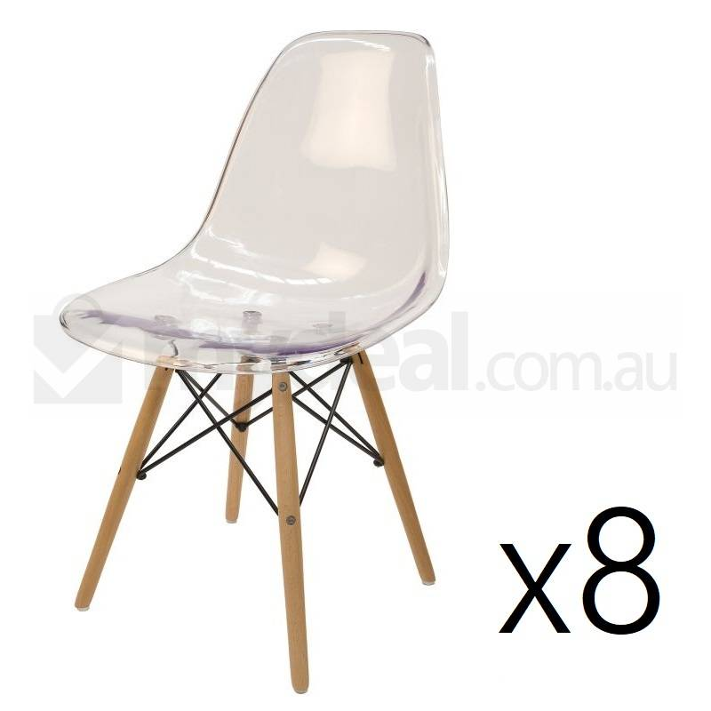 8x Replica Eames DSW Dining Chair  Clear  Natural  Buy