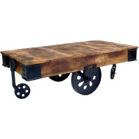 Industrial Cart-Style Coffee Table w Antique Wheels | Buy ...