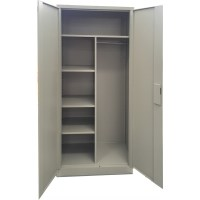Large Secure Metal Storage Cabinet w/ Lock in Grey