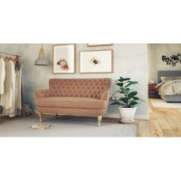 Alessia Leather Loveseat in Walnut | Buy Couches - 370987