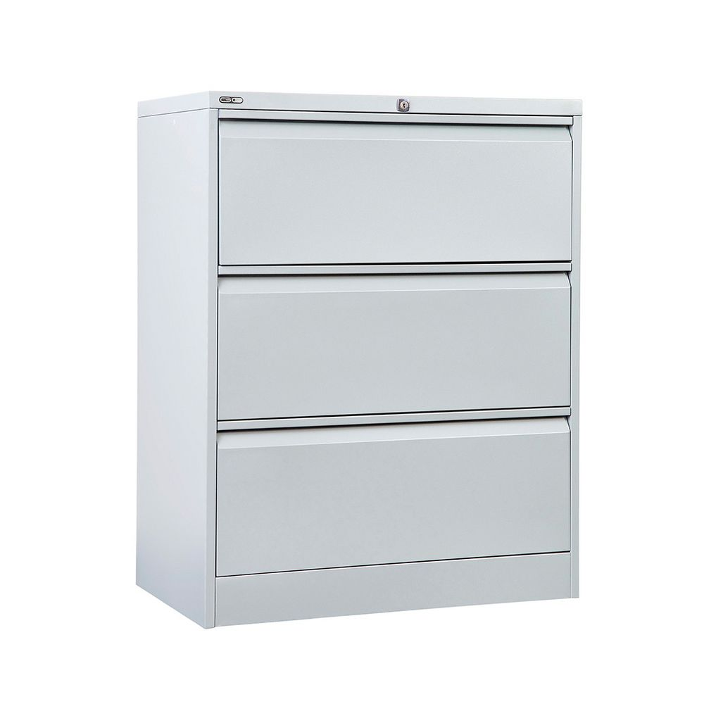 GO 3 Drawer Lateral Filing Cabinet Silver