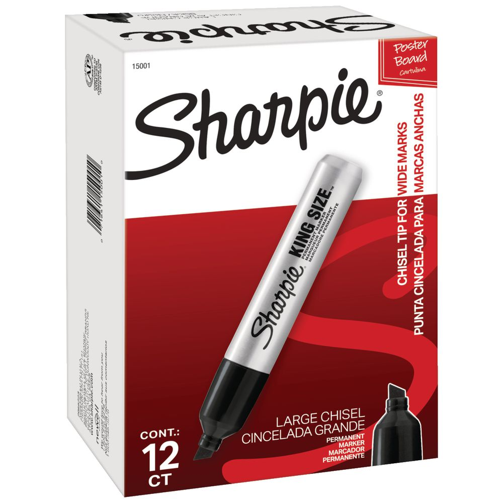 sharpie pro king size markers chisel black 12 pack