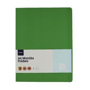 JBurrows Manila Folder A4 Green 25 Pack Officeworks
