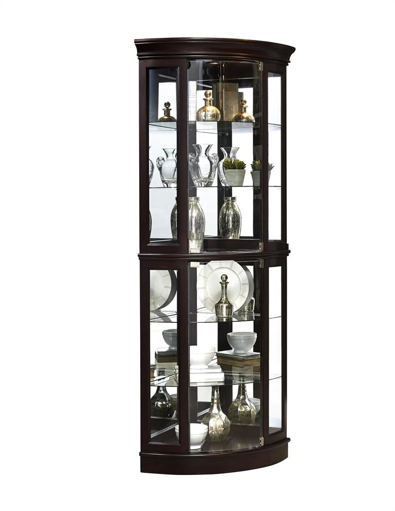 pulaski p021577 corner mirrored curio cabinet with two glass doors led light with 3 way touch dimmer switch and adjustable glass shelves in sable