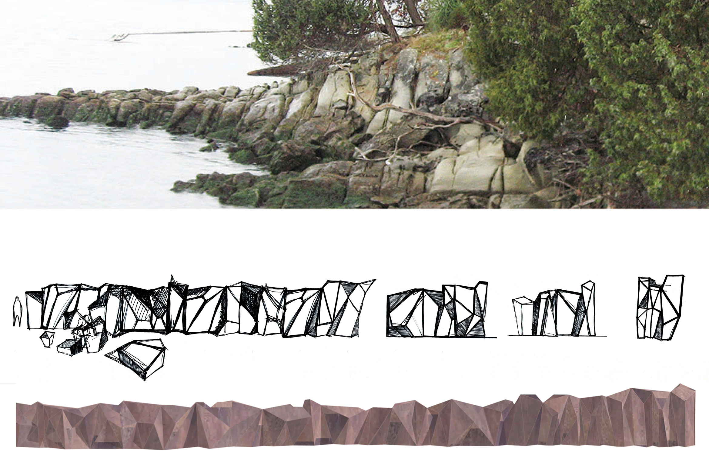 Corten Seawall Sculpture And Foreshore