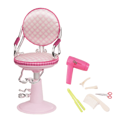 Doll Salon Chair Hanging For Teenager Pale Pink Sitting Pretty Hair Our Generation Scales