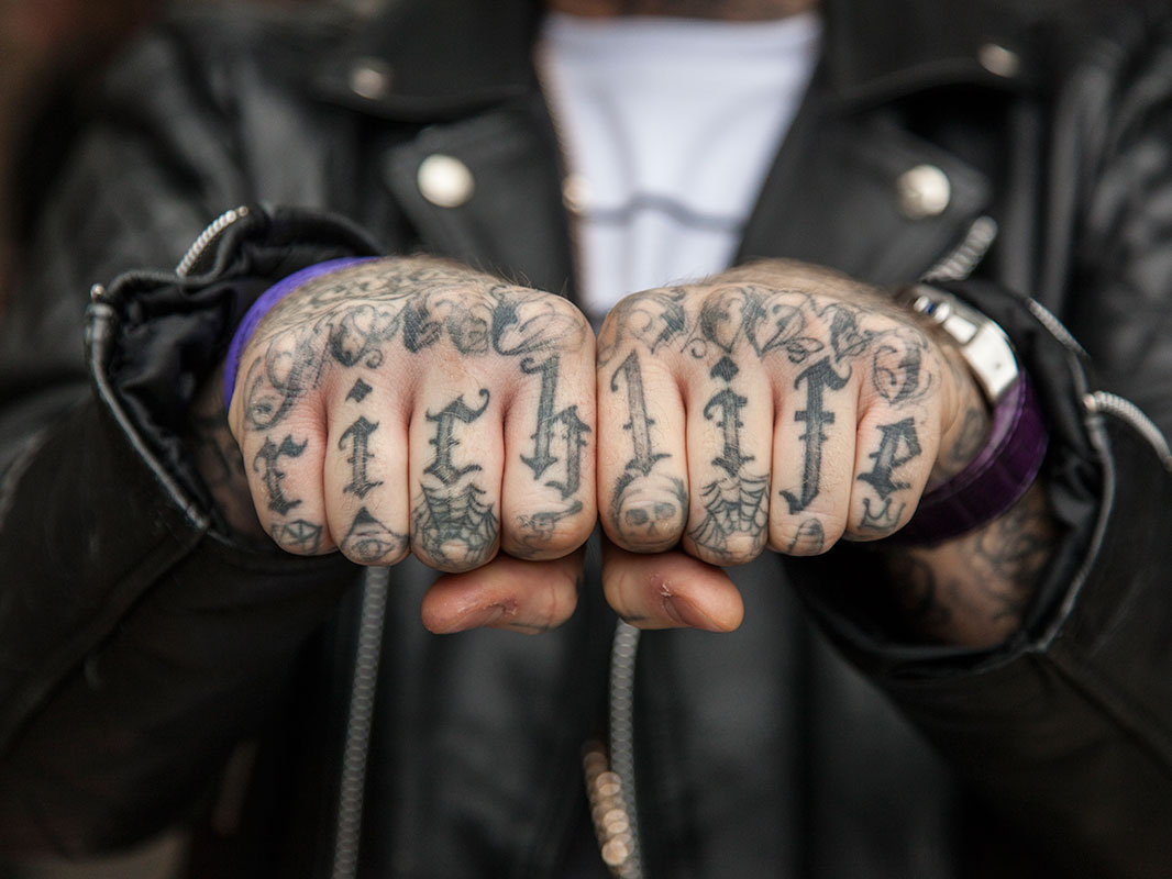 """""""love And Hate Tattooed On The Knuckles Of His Hands"""