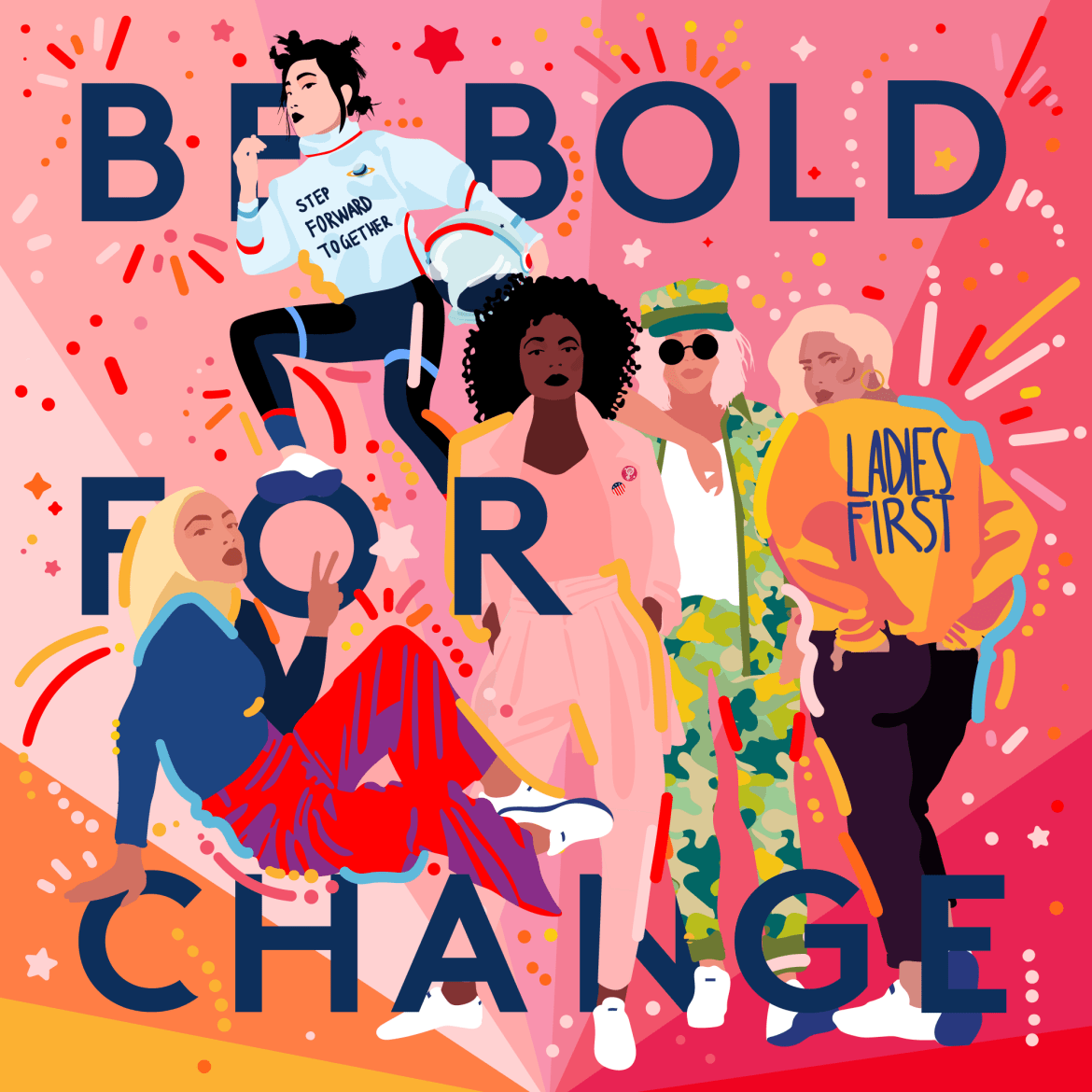 Illustration by Refinery29 senior designer @byisabel to promote Be Bold For Change, an event hosted by Refinery29 to mark International Women's Day