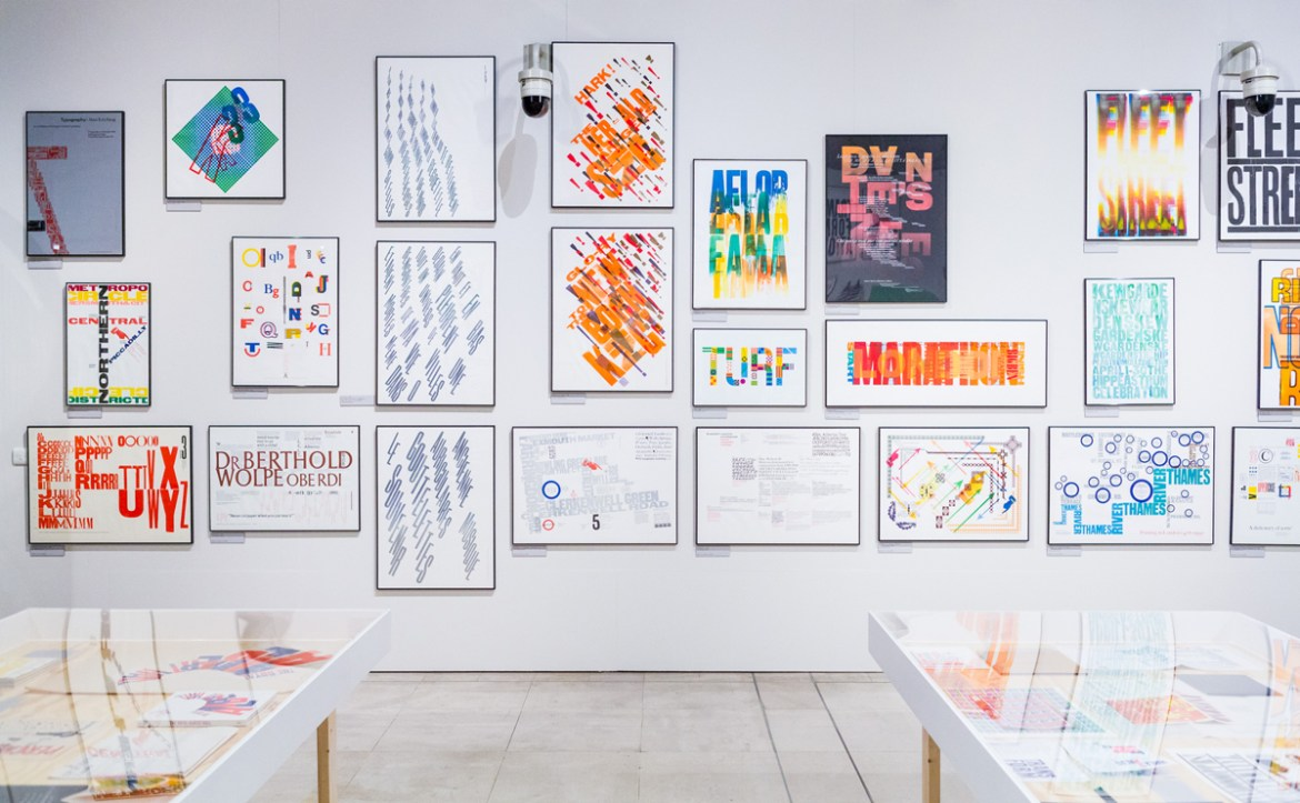 An exhibition of letterpress prints by Alan Kitching at Pick Me Up 2016 © Kevin Meredith