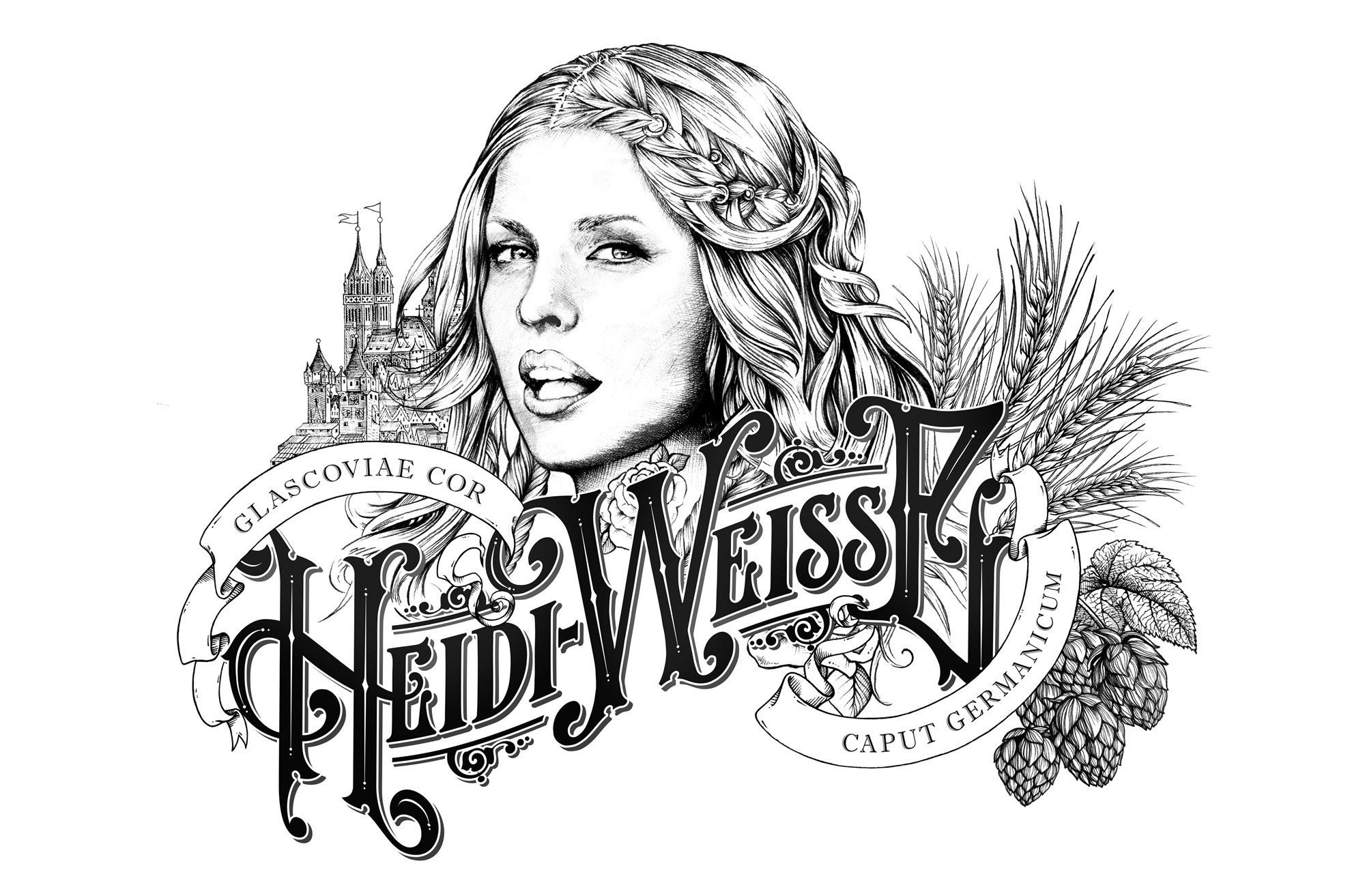 Greg Coulton's illustrated identity for West Beer's Heidi
