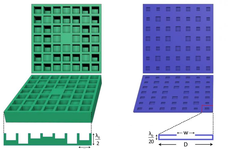 """A conventional, two-dimensional conventional Schroeder diffuser (on the left), compared to a new, """"ultra-thin"""" two-dimensional Schroeder diffuser (at right)"""