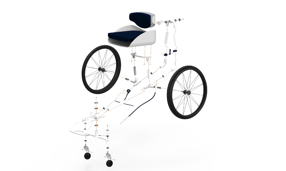 Steerable wheelchair uses 3D printed parts for bespoke