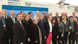 City leaders at the Cities & Regions Pavilion in the Climate Generations Areas at COP21.