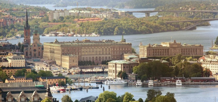 An aerial view of the Royal Palace in Stockholm