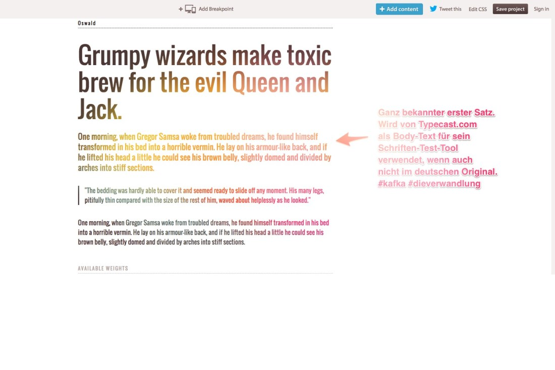 Screenshot von typecast.com