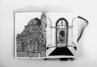Left _ Hand Sketch _ 0.4 Black Ink Pen _ Location _ Cattedrale di Santa Maria del Fiore, Florence Right _ Hand Sketch _ 0.4 Black Ink Pen _ Location _ Rome