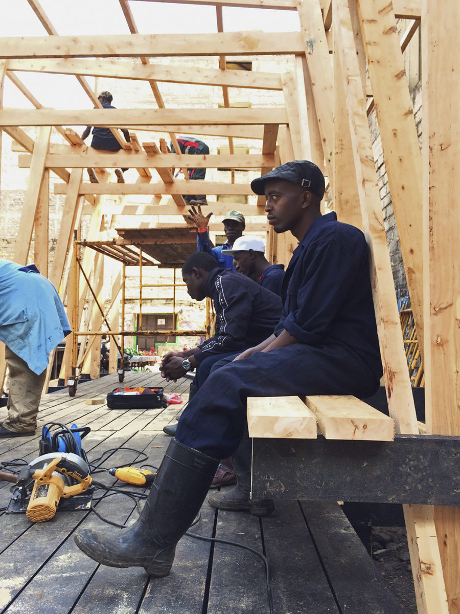 workers in wood pavilion