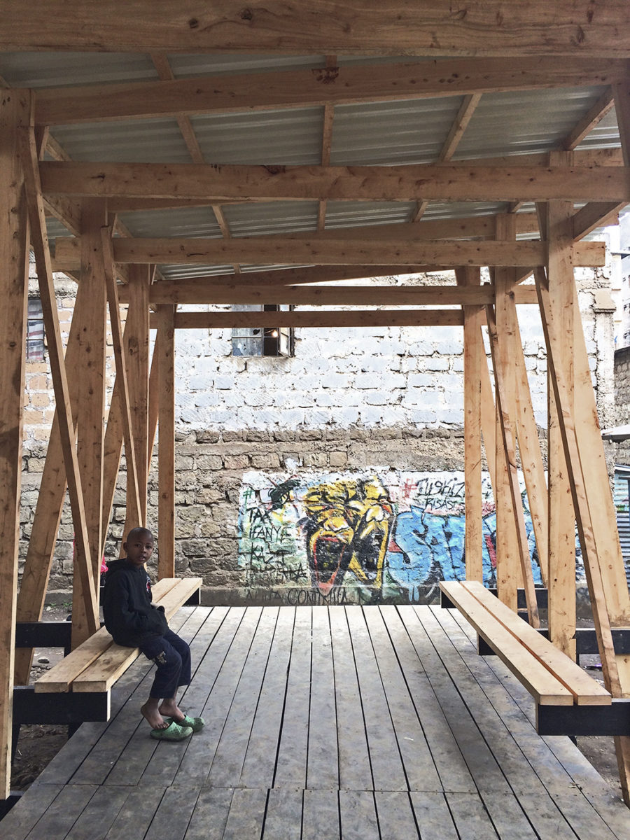 wood pavilion in mathare, africa