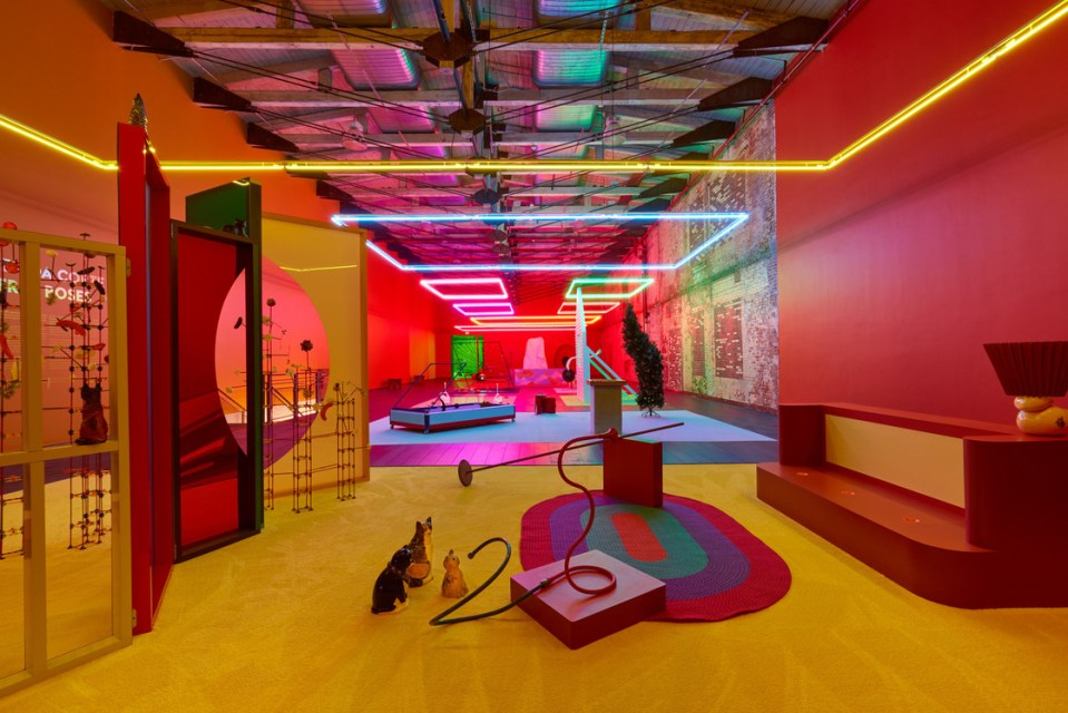 interior installation, neon, red and yellow