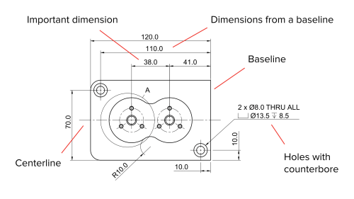 small resolution of a fully dimensioned main orthographic view