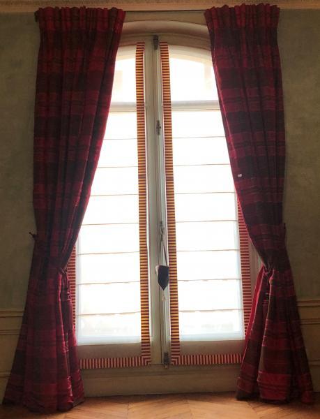 paire de double rideaux en tissu double